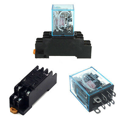 12V DC Coil Power Relay LY2NJ DPDT 8 Pin HH62P JQX-13F With Socket Base ASS