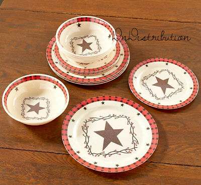 Country Star Melamine Dinnerware Set Rustic Red Checkered Trim 12 Pce Set NEW