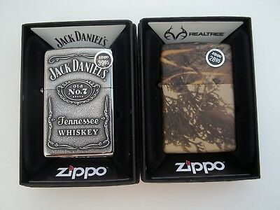 Lot Of 2 Zippo Lighters Jack Daniels And Realtree Camo New In Boxes