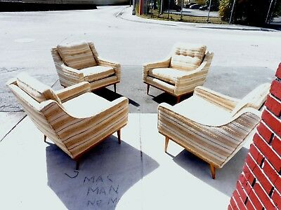 4 Early  Milo Baughman  Articulate Seating Lounge Chairs  By James Inc