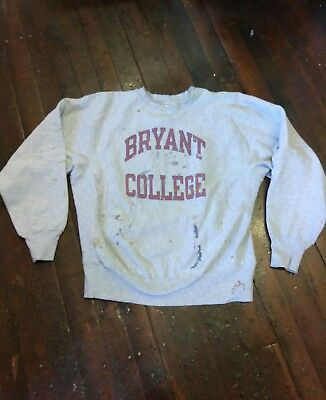 Vintage Distressed Destroyed Champion Reverse Weave Bryant College Sweatshirt L