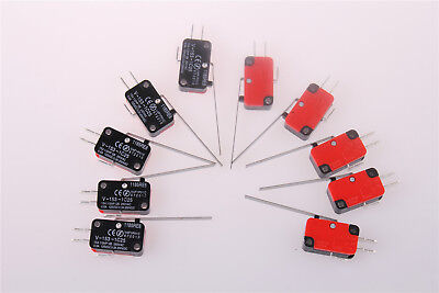 10Pcs V-153-1C25  SPDT Micro Limit Switch Long Straight Hinge Lever Arm UK