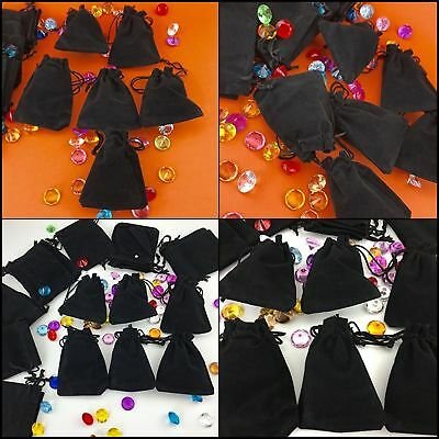 """50 Bag Gift Small Black Velvet Cloth Jewelry Pouch Drawstring Ring 4x3"""" Bags Set"""