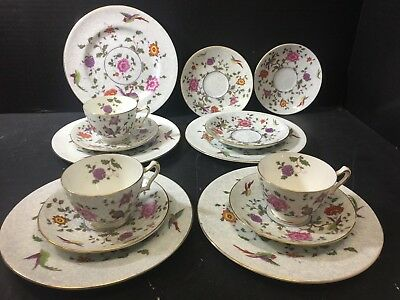 Vintage (14) Pieces of Crown Staffordshire Bird Of Paradise Cups Saucers Plates
