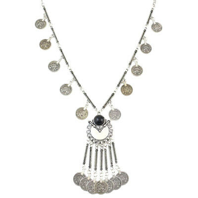 Vintage Ethnic Gypsy Tribal Boho Coin Pendant Statement Necklace Antique Silver