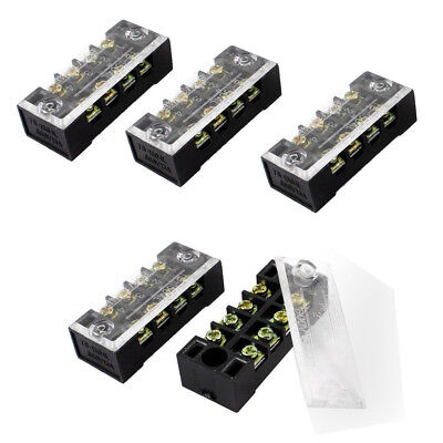 3PCS 600V 15A Dual Row 4 Position Covered Screw Terminal Barrier ASS