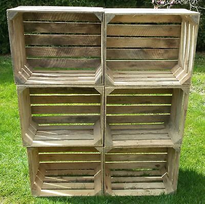 2,3,4,6,8,12 Bright Vintage Wooden Crates Fruit Apple Boxes Home Decor Garden