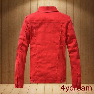 Mens Pretty Slim Fit Red Denim Jeans Jacket Slim Fit Outwear Casual Jackets Tops