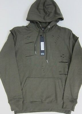 Boohoo Men's Skinny Fit Distressed Hooded Tracksuit Large Olive  NWT