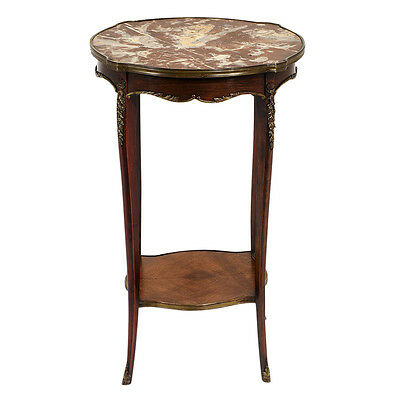 Antique French Louis XV-style Side Table Mahogany Wood Beautiful Brass Decor