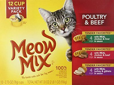 Meow Mix Tender Favorites Poultry & Beef Variety pk 12/2.75 oz Cups (pk of 4)