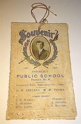 Rare Antique American Public School Souvenir Graduation Program & Photo! Ohio!