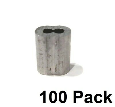 """(100) New 1/8"""" Wire Rope ALUMINUM CABLE CLAMP Double Barrel Loop Ferrule Sleeves"""