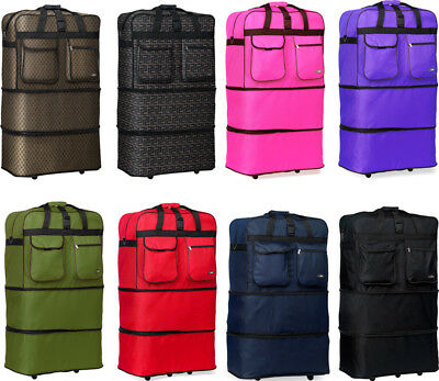 "30"" L Expandable Rolling Duffel Bag Wheeled Spinner Suitcase Duffel Bag Luggage"