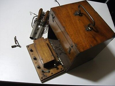 Antique Electric Shock Therapy Machine  Medical Vintage Prop in Wood Box 1910-30