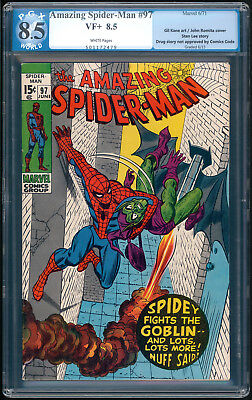 "AMAZING SPIDER-MAN #93 and #97 ""1971"". Both are PGX Graded 8.5 with White Pages!"