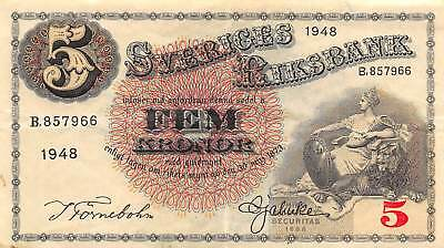 Sweden 5 Kronor, 1948 P.33 Circulated