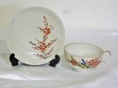 Antique Vintage Stunning Feather Weight Floral Gilt H/ Painted Cup And Saucer