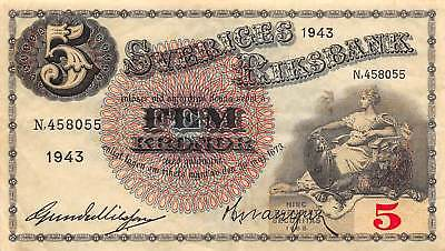 Sweden 5 Kronor, 1943 P.33 Circulated