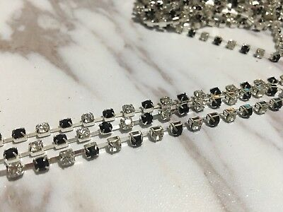 6 Meters 2 Tones clear&Black crystal rhinestone encased silver metal chain 3.6mm