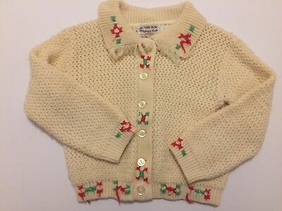 """Vintage Baby Girls """"100% TURBO ORLON"""" Cream Sweater with Red & Green 1950s"""