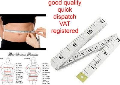 """White Body Measuring Ruler Sewing Tailor Tape Measure Soft Flat 60"""" /150cm BEST"""