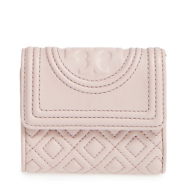 934a4cf982b7 NWT Tory Burch Fleming Quilted Leather Mini Wallet PINK Clutch Bedrock Beige