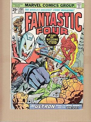 Fantastic Four  #150 1974 -Crystal/Pietro Wedding-Avengers-Ultron-Conway/Buckler