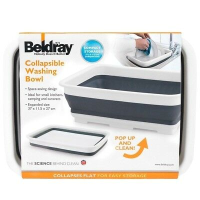 New Beldray Collapsible Washing Up Bowl/Bucket 10L/Dish Drainer/ Laundry Basket