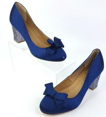 0a1a4979243c Shoes Of Prey Navy Blue Satin Bow Pumps Glitter Covered Low Heel Size 37  Wide