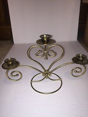 "Homco Home Interiors Table Top 3 Arm Sconce Gold Metal Swirls Vintage 8"" Tall"