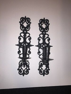 Vintage 1964 Black/Brown Gothic Plastic BURWOOD WALL SCONCE CANDLE HOLDERS 4455