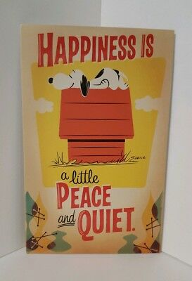 "*NWT* Hallmark Snoopy ""Happiness is a little Peace and Quiet"" Metal Sign Peanuts"