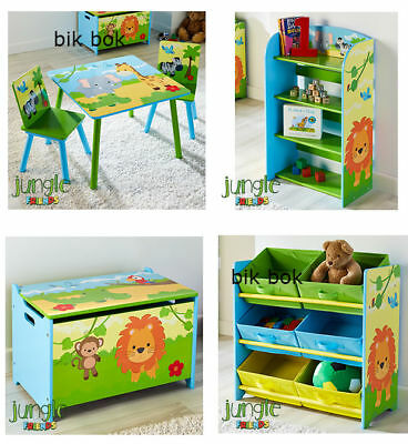 Kids Children's Wooden Table & Chairs Set, Bookshelf, Toy Organiser, Toy Box