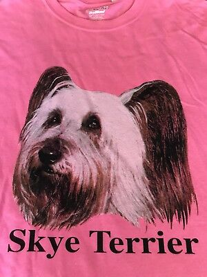 Skye Terrier Dog on GILDAN Brand Heavy Cotton Pink XL T-Shirt