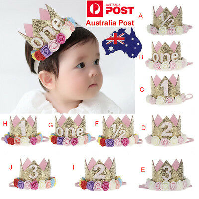 Baby Toddler Kids Crown Tiara Headband Hair Band 1st Birthday Party Headwear