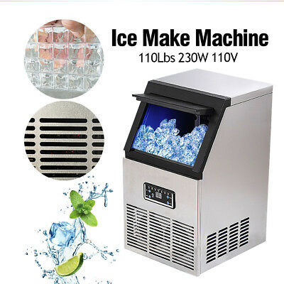 US Auto Commercial Ice Maker Cube Machine Stainless Steel Bar 110LB 110V 230W