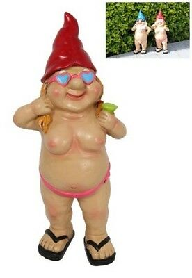 Standing Lady Nude Garden Gnome With Beer- Funny Rude Naked Garden Gnome
