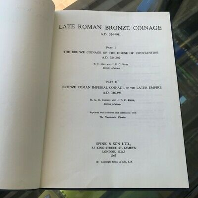 1965 Late Roman Bronze Coinage Part 1 / Part 2 by R.A.G. Carson Hardcover