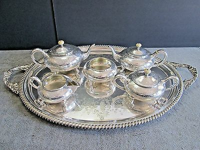 Antique American Southern Sterling Silver Tea Coffee Set + Tray