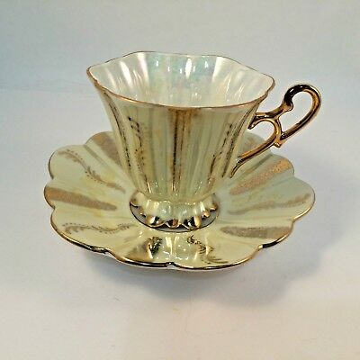 Shafford Hand Decorated Japan Tea Cup Luster Ware Pale Yellow Heavy Gold VTG