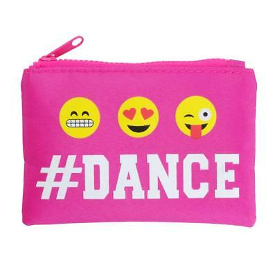 NEW Pink Poppy Pixel Emoji # Dance Zipped Coin Purse Hot Pink