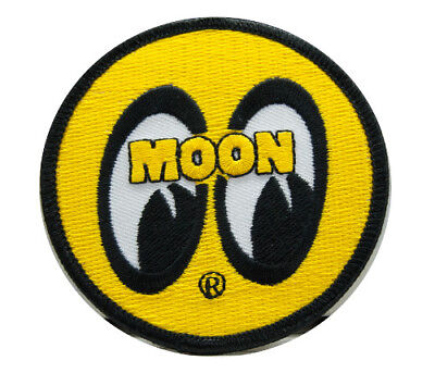 Yellow Moon Round Patch Sew or Iron on Hotrod cool custom jacket shirt work rod