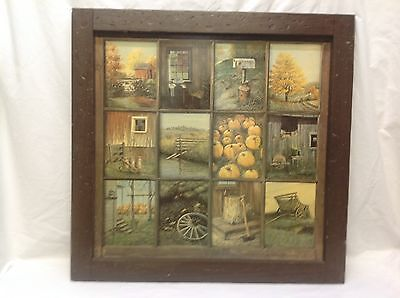 """Home Interior Homco """"Fall Harvest 12 Window Pane Picture"""""""