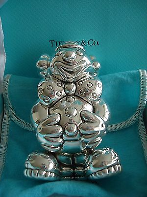 """TIFFANY sterling silver ~MINT IN BOX~ BABY CLOWN RATTLE """" box,pouch,card,bag"""