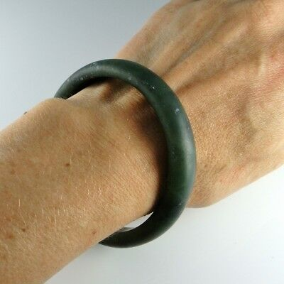 Chinese Qing Dynasty Antique Dark Green Nephrite Jade Bangle Antique