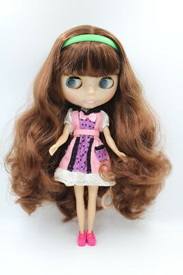 "12/""Neo Blythe Doll Black Hair Joint Body Transparent skinNude Doll from Factory"