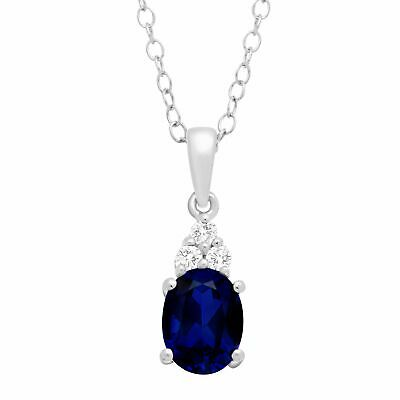 Created Blue Sapphire & Natural White Topaz Oval Pendant in Sterling Silver, 18""