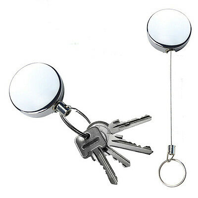 1 Pc Full Metal Keychain Stainless Steel Retractable Key Recoil Pull Chain EB