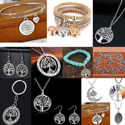 Fashion Tree of Life Pendant Silver Necklace Women Earrings Charm Bracelet Gifts